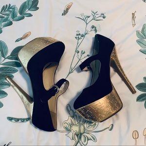 ShoeDazzle Black and Gold Mary Jane Platform Heels